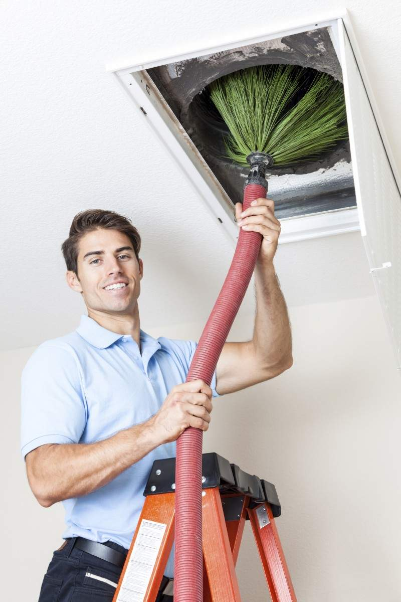 Duct cleaning services cutting cast iron sewer pipe
